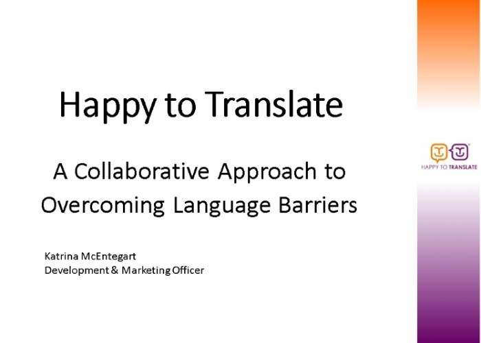 Happy to Translate presents at Quality Scotland Voluntary Sector Network